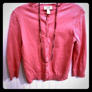 3/$30 Loft pink 3/4 sleeve button down cardigan